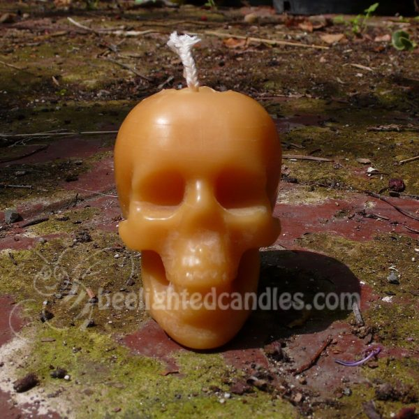 Beeswax Skull Candle